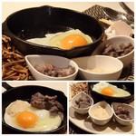 モトフサ アラキ - *フライパンに卵(献上卵だそう)を割入れ、鶏のワイン煮、サーモンクリームソースをいれ 混ぜながら頂きます。これにごはんを足すと「親子丼」になりそう。(^^;)
