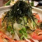 炭火串焼 もん - 大根と水菜の じゃこサラダ