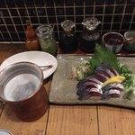 炉ばた雷橋 - 料理写真:生ビール&サバ刺