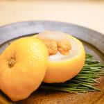 木山 - 白子とウニの蕪擦り流し柚子餡
