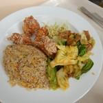 レストランローザンヌ - 料理写真:チャーハン+唐揚げ+肉みそ野菜炒め 1,200円(税込)