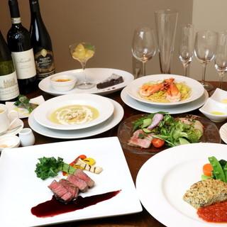特別な日のお食事に◎季節を楽しむコースをご用意いたします。