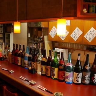 お刺身にはしっぽり日本酒♪焼酎やビールなども揃えております。