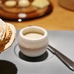 LIAISON - 菊芋のヴルーテ、フォアグラのコンフィ