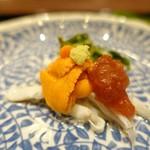 81573667 - 「旬」                       白魚の梅肉掛け、生雲丹、                       宮古ゼンマイ、山葵