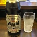 立喰焼肉てんろく - 「瓶ビール」(中、500円)。店内は全て税込表示なのが嬉しい。