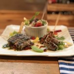 ブロシェットブッチャーズ STEAKぶぶ - 本日のピンチョス3種(茄子チーズ肉巻き、ニラ肉巻き、えのき肉巻き)