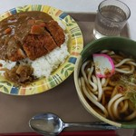 東北福祉大学食堂 - 料理写真:カツカレー&うどん♪