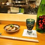寿し花ざくら - 料理写真:付き出し(アン肝)& 冷酒(船中八策:4合瓶)