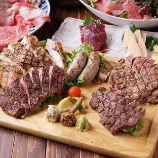 多様な肉料理が大充実!!一押しは【おまかせ炭火焼き5点盛り】