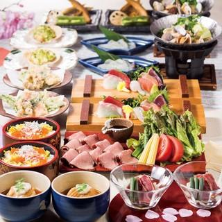 旬の素材を使用した各種宴会コース