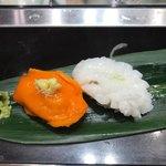 立食い寿司 根室花まる - 赤ほや @108- 落石だこ @194-
