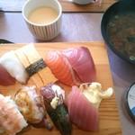 魚屋 - 18/2 寿司10貫定食:880円(税別)