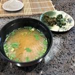 割烹 天ぷら 三太郎 - 味噌汁&お漬物