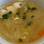 アルン - Arun @菊川 ランチ パッタイセットに付く豆腐と野菜の熱々スープ