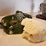 コッカ食堂 - 抹茶とホワイトチョコのパウンドケーキ アイスクリーム添え