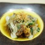 蕎倫 - 牡蠣と豆腐の揚げ出し 野菜餡掛け