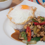 ソウルフードバンコク - ナスと鶏挽肉のタオジアウ炒め