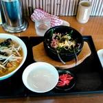 越王らーめん - 満足セット、野菜ラーメンに変更 960円+240円(野菜)