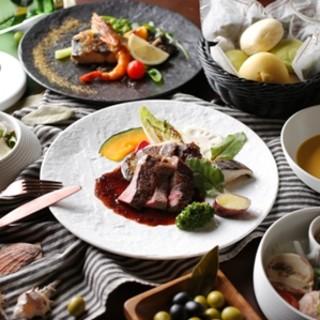 【月替わりコース】地産地消をテーマに旬の食材をコースにて