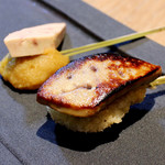 串揚げ 吟音 - ほくほく甘い鳴門金時のクロメスキに大きめサイズのフォアグラソテーを添えたフレンチテイストは絶品です。