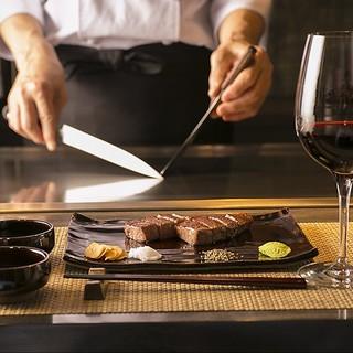 本格鉄板焼きと京都の食材を織り交ぜた贅沢なコースを