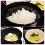 はかた天乃 - ◆ご飯はツヤがあり、美味しい。お代わり可能。 ◆お味噌汁は薄めですが、定食で頂くには丁度いいいかと。 ◆香の物(沢庵と高菜)