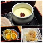 はかた天乃 - ◆茶碗蒸しは具材は入らず、梅がのせられていますがいい味わい。 ◆サラダはゆで卵のせ。 ◆切り干し大根の煮付け。小さく切った平天が入っています。お味付は濃くなく甘さも控えめで食べやすい。