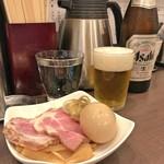 麺屋りゅう - 瓶ビール + おつまみ皿