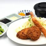 味喰笑 - 油カスコロッケと大海老フライ御膳1,300円(税込)
