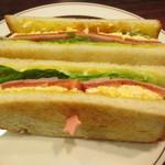 星乃珈琲店 - ハムと野菜と玉子のトーストサンド