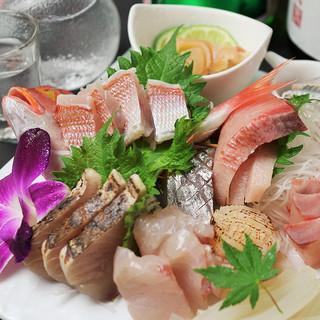 佐島漁港直送の刺身をはじめとする旬の鮮魚