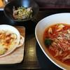 パスタカフェ 八乃森 - 料理写真:三種キノコとツナのトマトソースパスタとサツマイモのミニグラタンセット