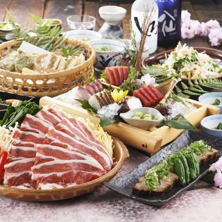 新宿での歓送迎会にピッタリな、春の牛すき焼き陶板コース