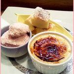 酒楽菜祭 - 甘味3種プレート(チーズケーキ・豆乳ブリュレ・桜アイス)