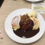 幸せのパンケーキ - ホットチョコレートパンケーキ自家製グラノーラがけ(バニラアイストッピング)  ¥1150+100-