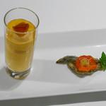 GINZA TOTOKI - 京くれない人参のムース、キビナゴの南蛮漬け