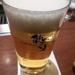徳寿 - ビールで乾杯。