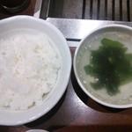 徳寿 - ご飯とスープ。
