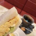81769151 - ✿モーニング 500円(税込)                       玉子サンド/ホットコーヒー                       ✿フルーツヨーグルト 100円(税込)