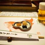 英ちゃん冨久鮓 - 付き出し & 生ビール