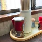 徳平食堂 - 2018年3月 卓上の薬味たち