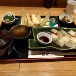 天ぷらと旬の肴 田丸 天神橋店 - 天ぷら盛り合わせと鯖と鯛のバッテラ