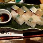 天ぷらと旬の肴 田丸 天神橋店 - 鯖&鯛のバッテラ