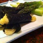 旬菜 四季 - アスパラガスと、長い物磯辺揚げ。