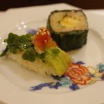 鮨処ひと志 - カイワレ、広島菜巻き