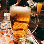 さんきゅう - 生ビール「ヱビス生」。ビールは他にサッポロ黒ラベル、ヱビス黒生、ヱビス生+黒のミックスがあります。