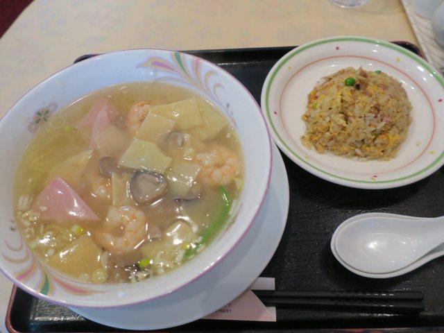 菜加 - 海老そば半チャーハンセット(¥1.000)