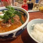 天手毬 - 坦々麺(豚ひき肉炒めとチンゲン菜)¥850