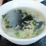 目黒菜館 - 【麻辣牛肉炒飯@税込930円】セットのスープ